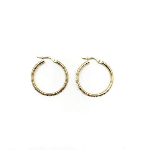 375 9ct Yellow Gold 24mm Patterned Round Hinged Hoop Earrings - Lyncris Jewellers