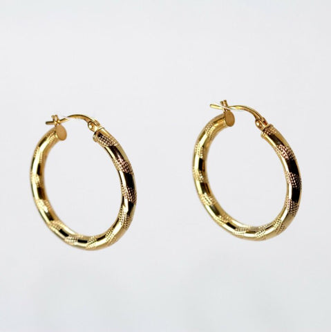 9ct Yellow Gold Patterned Hoop Earrings LJ8061