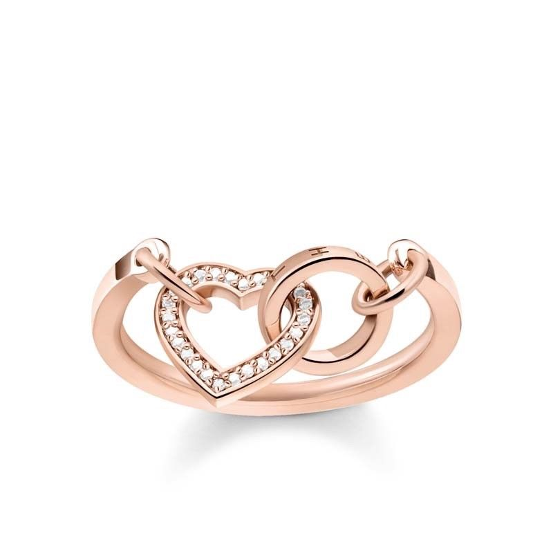 a58d21cef7 Thomas Sabo Rose Gold CZ Together Heart Ring TR2142R – B & S Lyncris  Jewellers