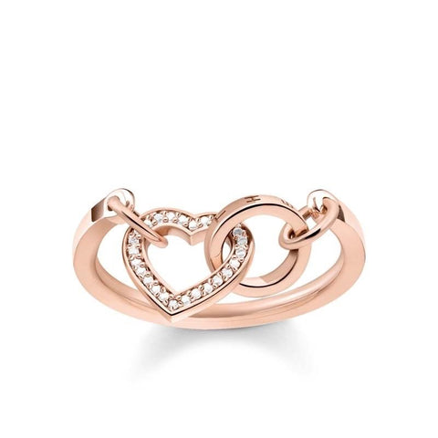 Thomas Sabo Rose Gold CZ Together Heart Ring TR2142R