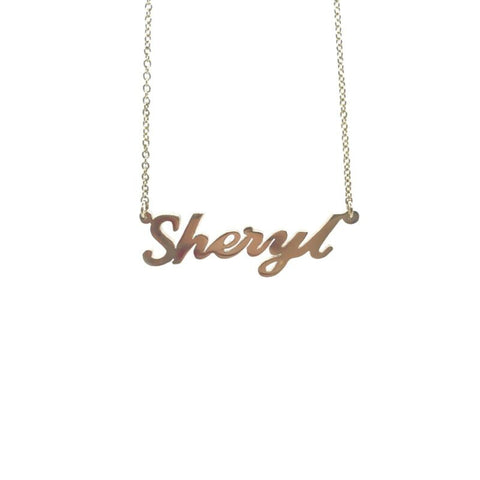 375 9ct Yellow Gold Solid Name Necklace 'SHERYL' 45cm Cable Chain - Lyncris Jewellers