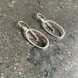 Sterling Silver Oval Drop Bar Hook Earrings LJ10054