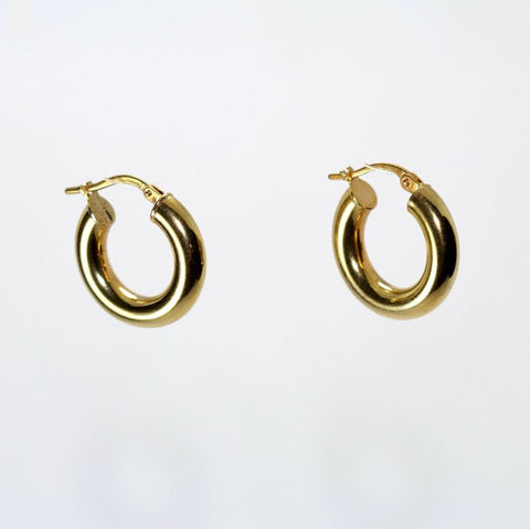 9ct Yellow Gold Thick Polished Hoop Earrings LJ852