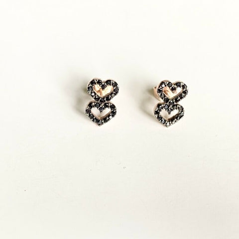 Rose Gold Plated Black CZ Two Hearts Stud Earrings LJ9831