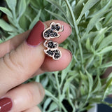 Rose Gold Plated Black CZ Elephant Stud Earrings LJ9820