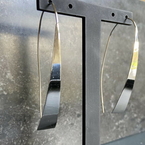 Sterling Silver Modern Minimal Drop Earrings LJ8952