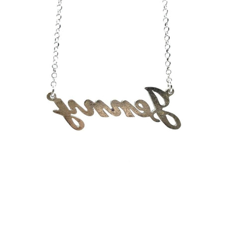 a1f701287ead1 925 Sterling Silver Solid Custom Name Necklace 'JENNY' 44cm Cable Chain