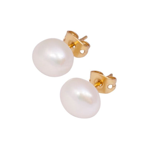 Gold Plated 8-9mm White Off-Round Freshwater Button Pearl Stud Earrings - Lyncris Jewellers
