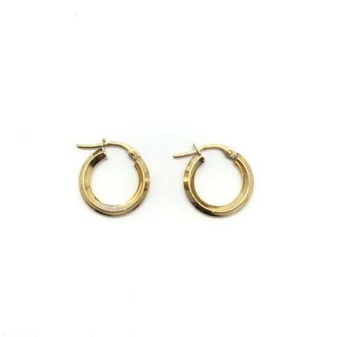 375 9ct Yellow Gold 14mm Round Knife Edge Hinged Hoop Earrings - Lyncris Jewellers