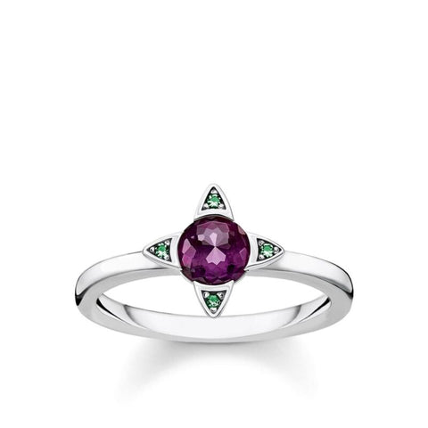 THOMAS SABO Purple Green Stones Flower Ring TR2263 - Lyncris Jewellers