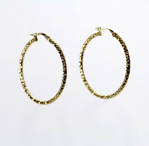 9ct Yellow Gold Large Fancy Hoop Earrings LJ9037