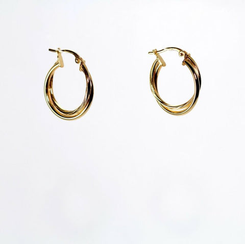 9ct Yellow Gold Double Twisted Hoop Earrings LJ7914