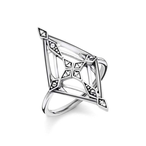 Thomas Sabo Sterling Silver Diamond Vintage Cross Ring D_TR0040