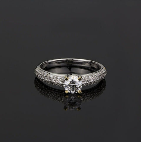 18ct White Gold Solitaire Diamond Ring With Pave Accents LJ2008