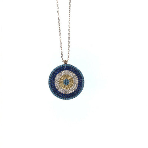925 Rose Gold Plated Pave Set CZ Round Evil Eye Nazar Necklace - Lyncris Jewellers