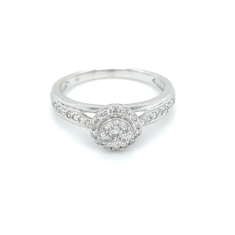 'HARPER' 9ct White Gold Cluster Diamond Ring LJ10197