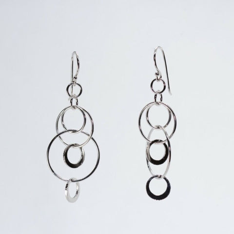 Sterling Silver Circles Long Drop Hook Earrings LJ8936