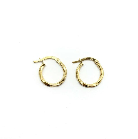 375 9ct Yellow Gold 14mm Twisted Hinged Hoop Earrings Polished Finish - Lyncris Jewellers
