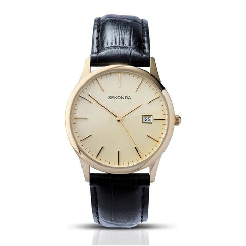 Sekonda Unisex Gold Plated Black Leather Watch SK3697 - Lyncris Jewellers