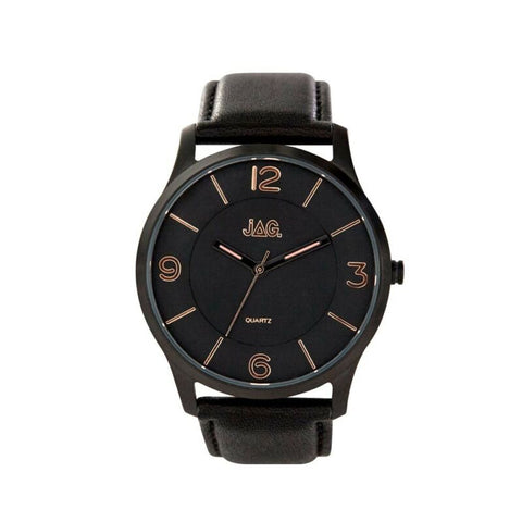JAG Men's Charlie Watch Black Rose Gold Dial Black Leather Strap J2048 - Lyncris Jewellers