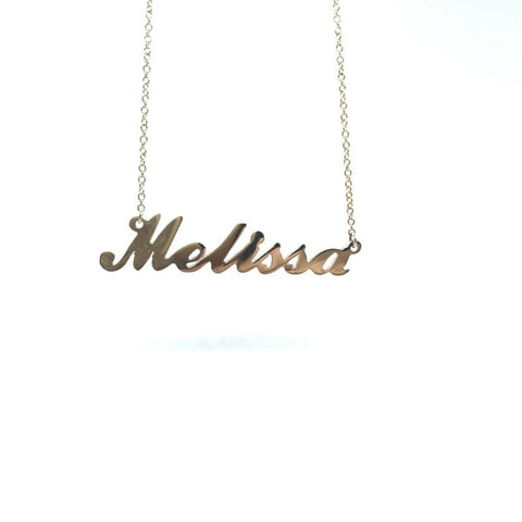 375 9ct Yellow Gold Solid Name Necklace 'MELISSA' 45cm Cable Chain - Lyncris Jewellers