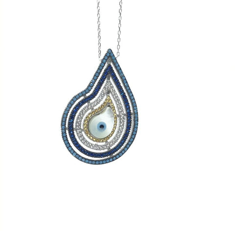 925 Sterling Silver Pave Set Evil Eye Nazar Necklace - Lyncris Jewellers
