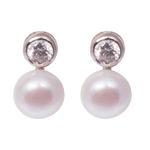 Sterling Silver 7.5mm White Freshwater Button Pearl & CZ Stud Earrings - Lyncris Jewellers