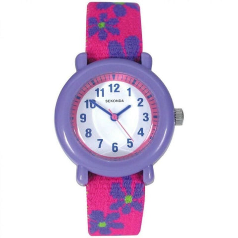 Sekonda Pink Purple Floral Fabric Kids Children's Watch SK4627 - Lyncris Jewellers