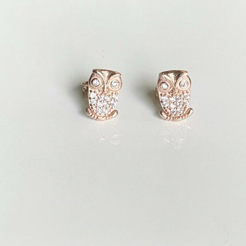 Rose Gold Plated CZ Owl Stud Earrings LJ9849