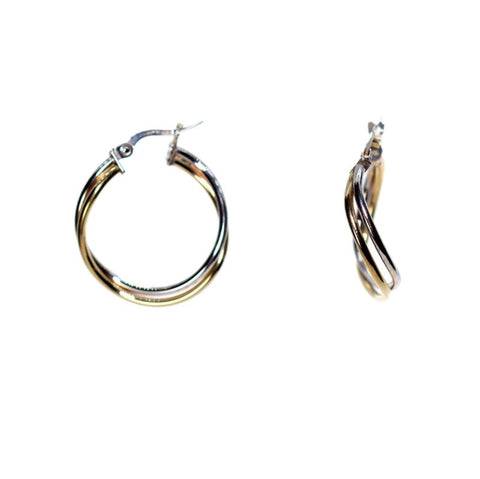 9ct Yellow Gold & White Gold Twisted Hoop Earrings LH8085