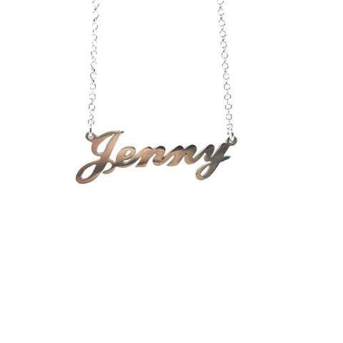 925 Sterling Silver Solid Custom Name Necklace 'JENNY' 44cm Cable Chain - Lyncris Jewellers