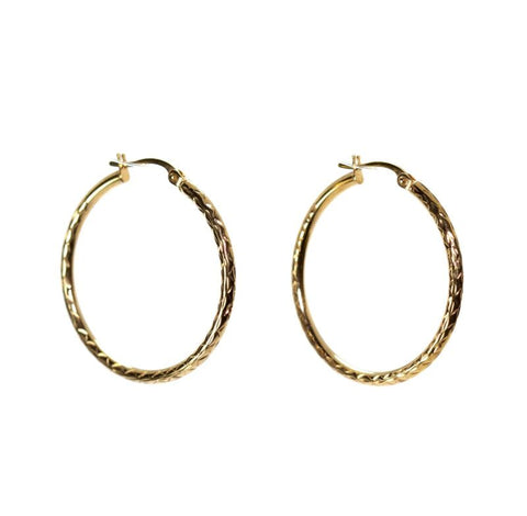 9ct Yellow Gold Patterned Hoop Earrings LJ7690