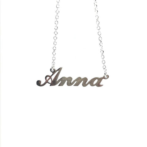 925 Sterling Silver Solid Custom Name Necklace 'ANNA' 44cm Cable Chain - Lyncris Jewellers