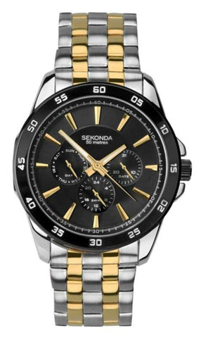 Sekonda Men's Silver Gold Chronograph Watch Black Dial SK1583 - Lyncris Jewellers