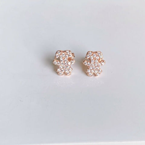 Rose Gold Plated CZ Bunny Rabbit Stud Earrings LJ9851
