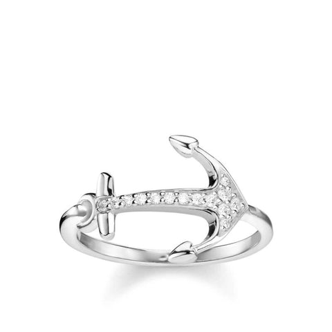 Thomas Sabo Sterling Silver CZ Anchor Ring TR2234 - Lyncris Jewellers