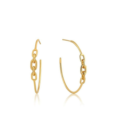 ANIA HAIE Yellow Gold Chain Links Hoop Earrings E004-03G - Lyncris Jewellers