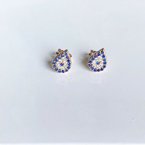 Rose Gold Plated Blue CZ Nazar Eye Stud Earrings LJ9180
