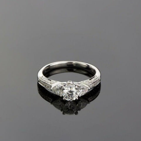 18ct White Gold Fancy Trilogy Diamond Ring LJ891