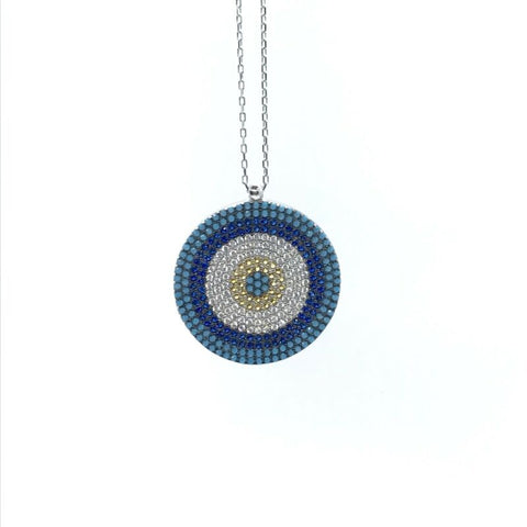 925 Sterling Silver Pave Set Round Evil Eye Nazar Necklace - Lyncris Jewellers