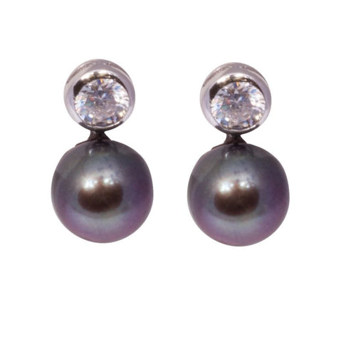 Sterling Silver 8mm Black Freshwater Button Pearl & CZ Stud Earrings - Lyncris Jewellers