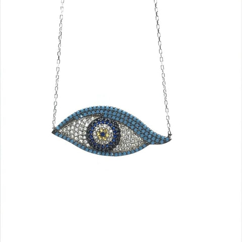 925 Sterling Silver Pave Set CZ Large Evil Eye Nazar Necklace - Lyncris Jewellers