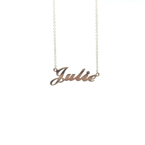 375 9ct Yellow Gold Solid Name Necklace 'JULIE' 45cm Cable Chain - Lyncris Jewellers