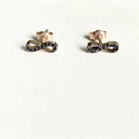 Rose Gold Plated Black CZ Infinity Stud Earrings LJ9834
