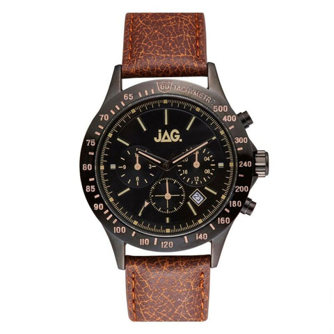 JAG Men's Blake Black Chronograph Brown Leather Watch J2274 - Lyncris Jewellers