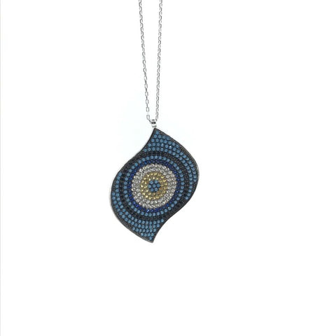 925 Sterling Silver Pave Set Turquoise Nazar Evil Eye Necklace - Lyncris Jewellers