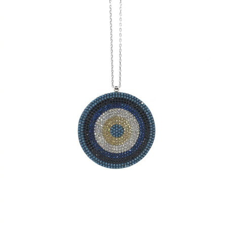 925 Sterling Silver Pave Set Large Nazar Evil Eye Necklace - Lyncris Jewellers