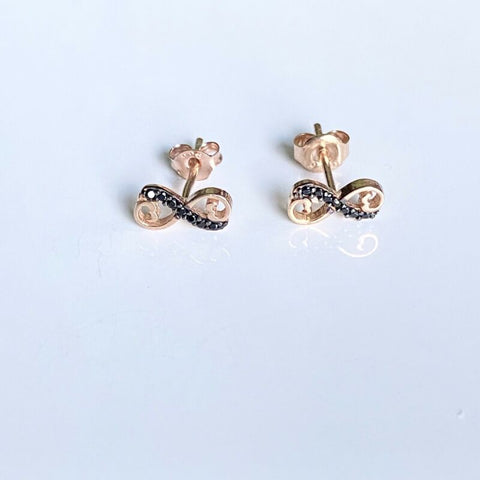 Rose Gold Plated Black CZ Infinity Stud Earrings LJ9825