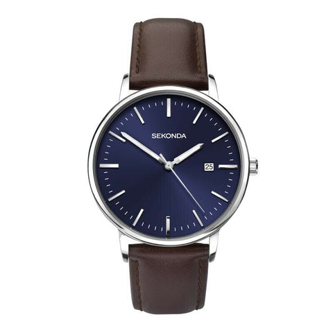 Sekonda Silver Brown Leather Watch Blue Dial SK1379 - Lyncris Jewellers