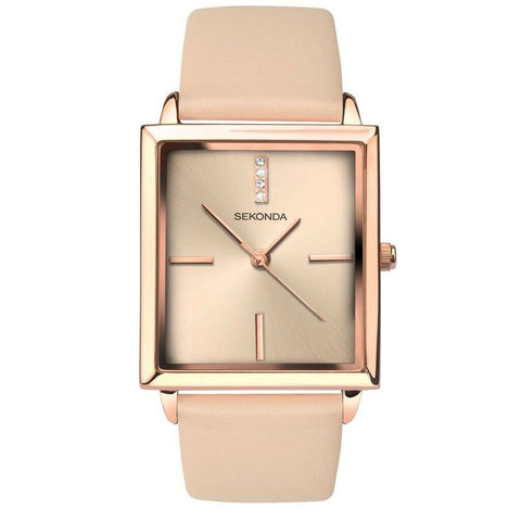 Sekonda Rose Gold Nude Leather Band Watch SK2555 - Lyncris Jewellers